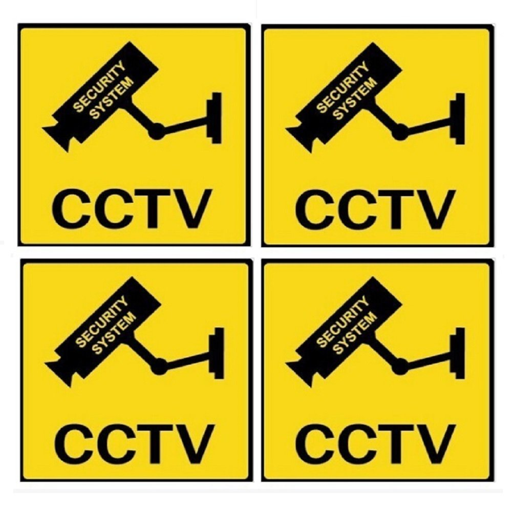 WER 4パックアクリルCCTVカメラセキュリティ監視警告サインモニタAlertingデカール B072KGHPBQ