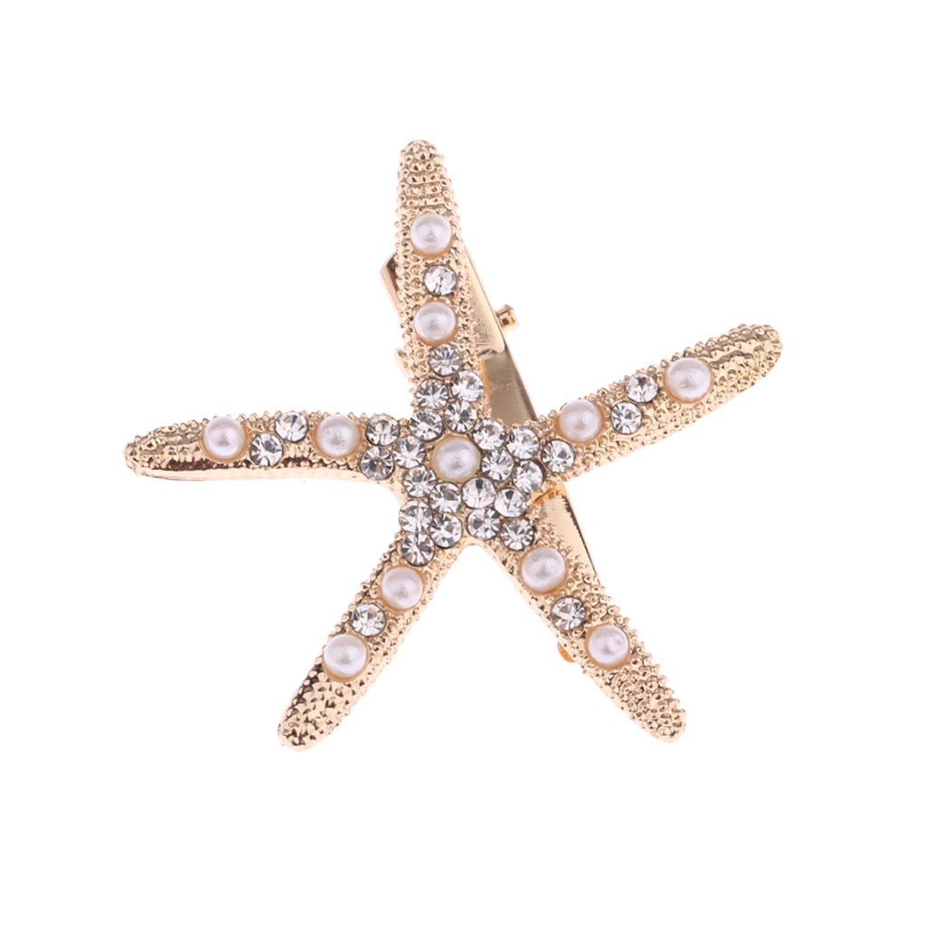 Flyhigh Hair Clip Simulation Starfish Rhinestone Women Jewelry Headdress Wedding Luxury