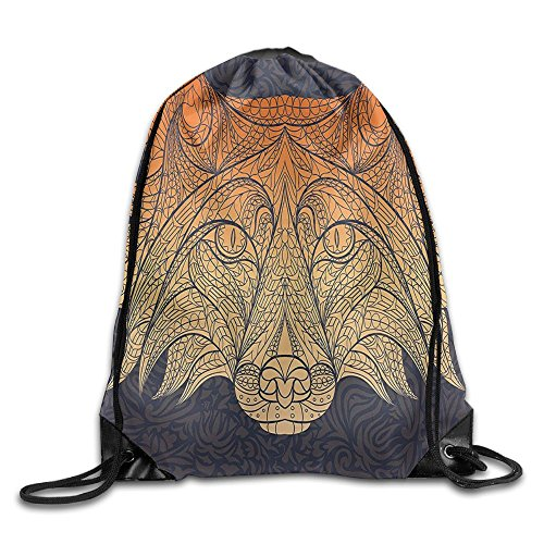 Weiding Ethnic Ornate Patterned Head Of The Red Fox Animal On Floral Swirled Drawstring Gym Sack Sport Bag For Men And Women - Animal Patterned Bands
