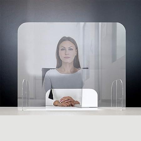 igienizzabile Sicurezza da appoggio Ufficio Ambiente di Lavoro Barriera Protettiva Trasparente da scrivania in plexiglass 75 x 30 x h60 cm Giallobus Protezione
