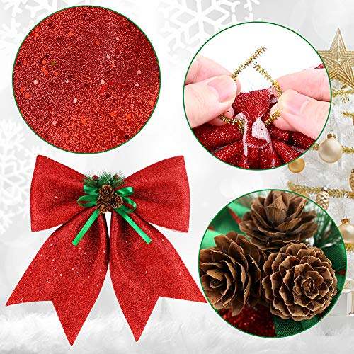 BigOtters Christmas Decorative Bows, 14.5 x 13 Inches Large Glitter Bows Sparkly Bows with Pine Cones for Wreath Garland Treetopper Xmas Tree Ornament Home Wall Door Decor, Red