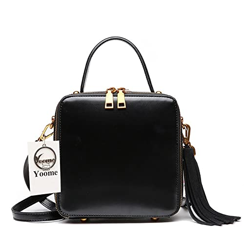 97c619571b43 Yoome Square Cowhide Leather Handbags Tassel Shoulder Bags for Girls Fashion  Vintage Tote Bags - Black