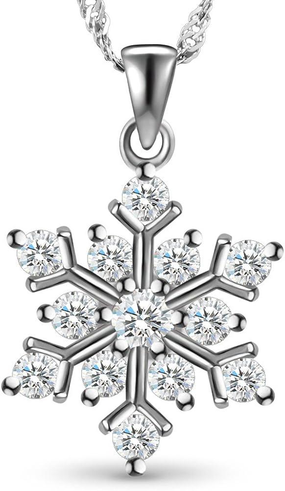SHEGRACE - Collar de plata de ley 925 con colgante de copo de nieve de circonita AAA micropavé, plata, joyería para mujeres y niñas