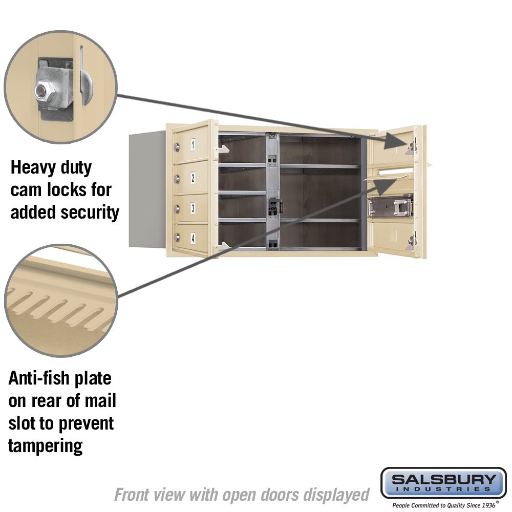 Salsbury Industries 3704d 06sfu 4c Horizontal Mailbox Sandstone