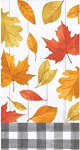 Autumn Leaf Guest Towels - 32 CT | Falling Leaves Design | Decorative Paper Napkins for Buffet Kitchen or Bathroom Fingertip Hand Towels | Fall Thanksgiving Friendsgiving Theme