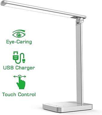 NAPATEK Lámpara Escritorio LED, Lámparas De Mesa Para El Cuidado De Los Ojos, Lámpara De Luz Diurna De Aleación De Aluminio Puerto De Carga USB, Brillo Multinivel, Control Táctil, Plateado: Amazon.es: Iluminación