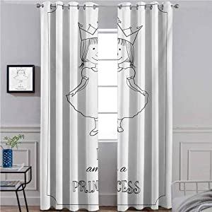 ScottDecor I am a Princess Solid Curtain Darkening Blackout Drapes for Window Kids Cartoon Cute Little Girl Fairy Dress with A Crown Childish Doodle Black and White 38