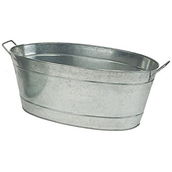 Achla Designs Large Oval Galvanized Steel Tub