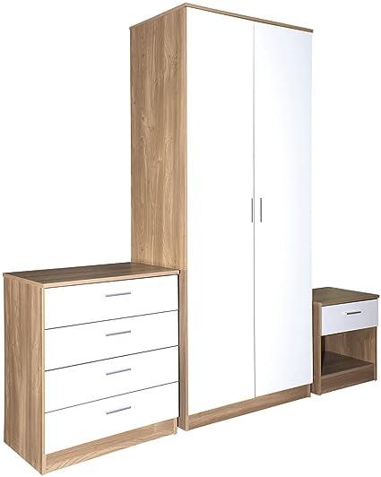 3 Piece Wood Bedroom Furniture Set 2 Door Wardrobe Drawer Chest ...