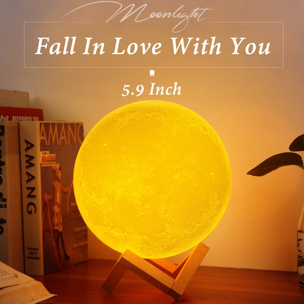Sunba Youth Moon Night-1 3D Lunar Lamp with Stand, 5.9 Inches Mystical Rechargeable Dimmable Touch Control Lighting Color for Home Decor, 6.96.96.5, Warm Color by Sunba Youth (Image #1)