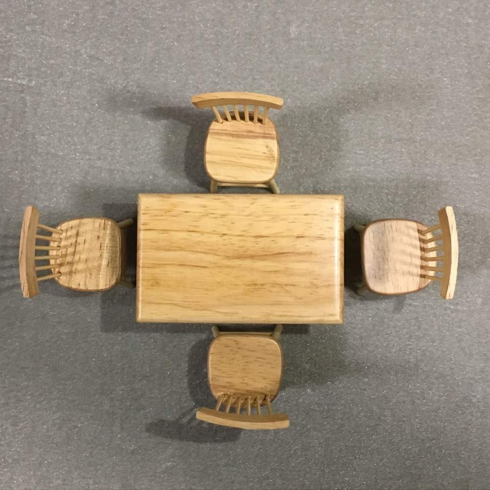 guojiwu 1 Set 1:12 Dollhouse Decoration da Pranzo in Legno Tavolo e Sedia Toy Mini Mobili Modello Dollhouse Accessori in Legno di Colore