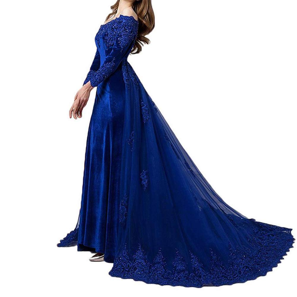 bluee Aishanglina Women's Long Train Appliques Crystal Beaded Formal Evening Wedding Party Dress