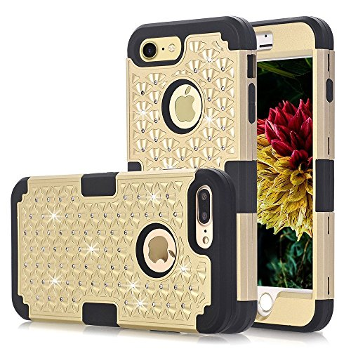 ZAOX iPhone 7 Case, Cute Rhinestone Bling Studded Resistant Shock-Absorption [Hard PC+ Soft Silicone] mpact Protection for iPhone 7 (gold+black)