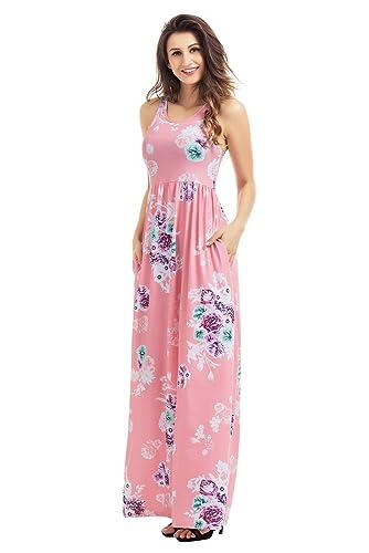 Lovezesent Women's Floral Print Round Neck Sleeveless Long Maxi Casual Dress