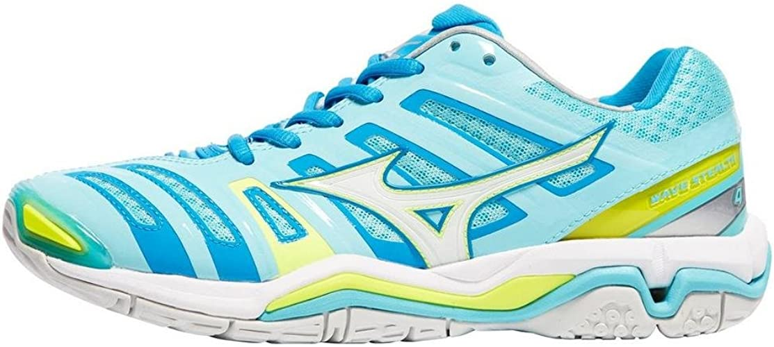 Blue Mizuno Wave Stealth 4 Womens Netball Shoes