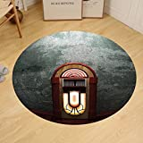 Gzhihine Custom round floor mat Jukebox Scary Movie Theme Old Abandoned Home with Antique Old Music Box Image Bedroom Living Room Dorm Petrol Green and Brown