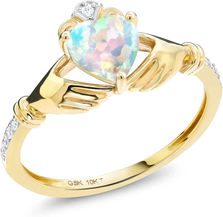 Gem Stone King 0.81 Ct Irish Celtic Claddagh White Simulated Opal Diamond Accent 10K Yellow Gold Ring