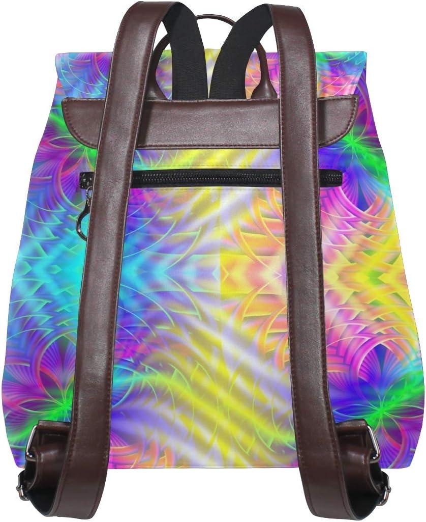 Unisex PU Leather Backpack Bright Symmetric Print Womens Casual Daypack Mens Travel Sports Bag Boys College Bookbag