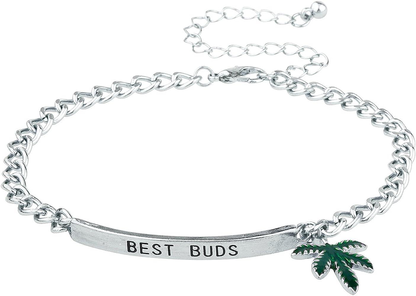 Stoner Bud life pot leaf hand stamped cuff bracelets 420 cannabis jewelry marijuana jewelry BFF