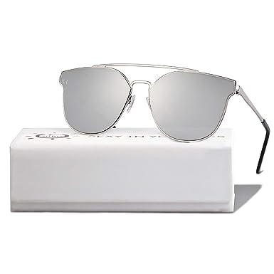 66e7d6985d99a SOJOS Gafas De Sol Para Mujer Hombre Alta Calidad Oversiezd Metal Plano SO  SHINE Con Marco Plateado Lente Espejo Plateado  Amazon.es  Ropa y accesorios