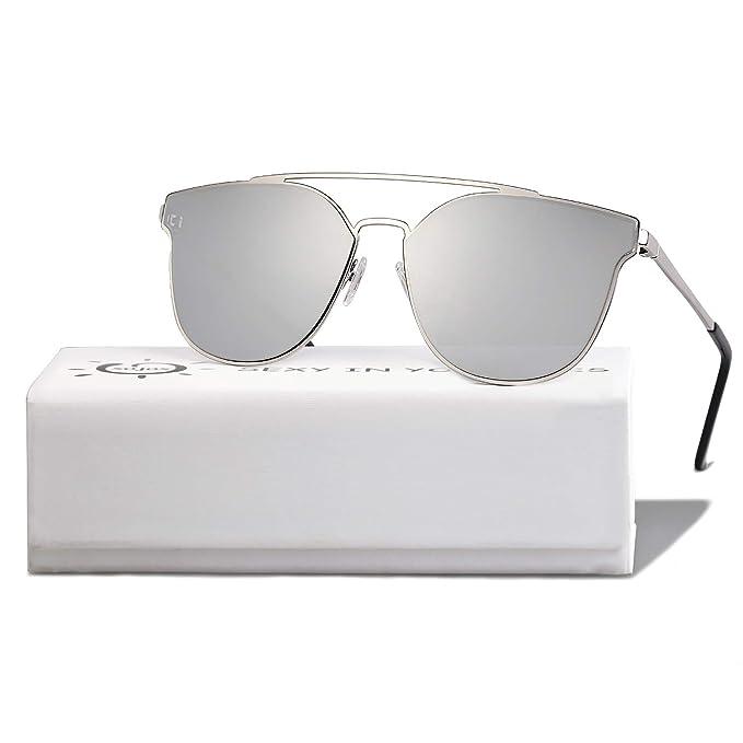 02f86acc9f SOJOS Fashion Mirrored Double Bridge Sunglasses Flat UV Protection Lens SO  SHINE SJ1100 with Silver Frame