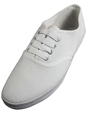 Easy USA - Womens Canvas Lace Up Shoe with Padded Insole, White 37302-10B(M)US