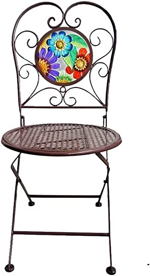 Continental Art Center Butterfly Metal and Glass Bistro Chair