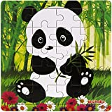 Layhome Puzzle 20 Pieces Wooden Puzzles Baby Kids Learning Jigsaw Puzzles Forest Animal (panda)
