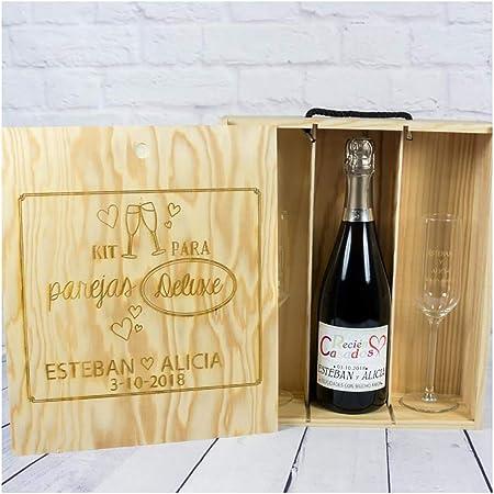 Calledelregalo Regalo Personalizable para Novios: Kit para Bodas Deluxe con Botella de champán Personalizada y Dos Copas de Cava grabadas, en Caja de Madera también Personalizada: Amazon.es: Hogar