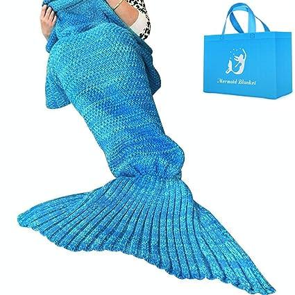 AM SeaBlue Mantas de cola de sirena para adultos Patrón hecho a mano de las escalas