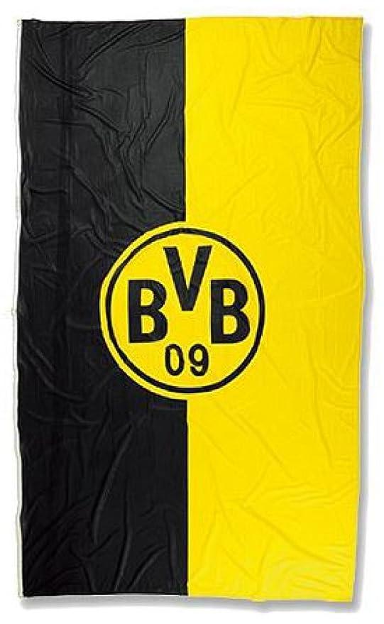 100 x 200 cm Hissflagge Borussia Dortmund Logo Streifen gratis Aufkleber Flaggenfritze/®