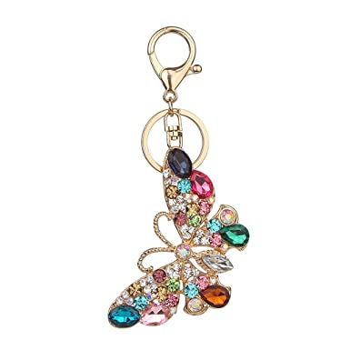 Republe Porte-papillon en strass cristal clés Porte-clefs filles Sac  pendentif Bijoux Porte 97e773cf269