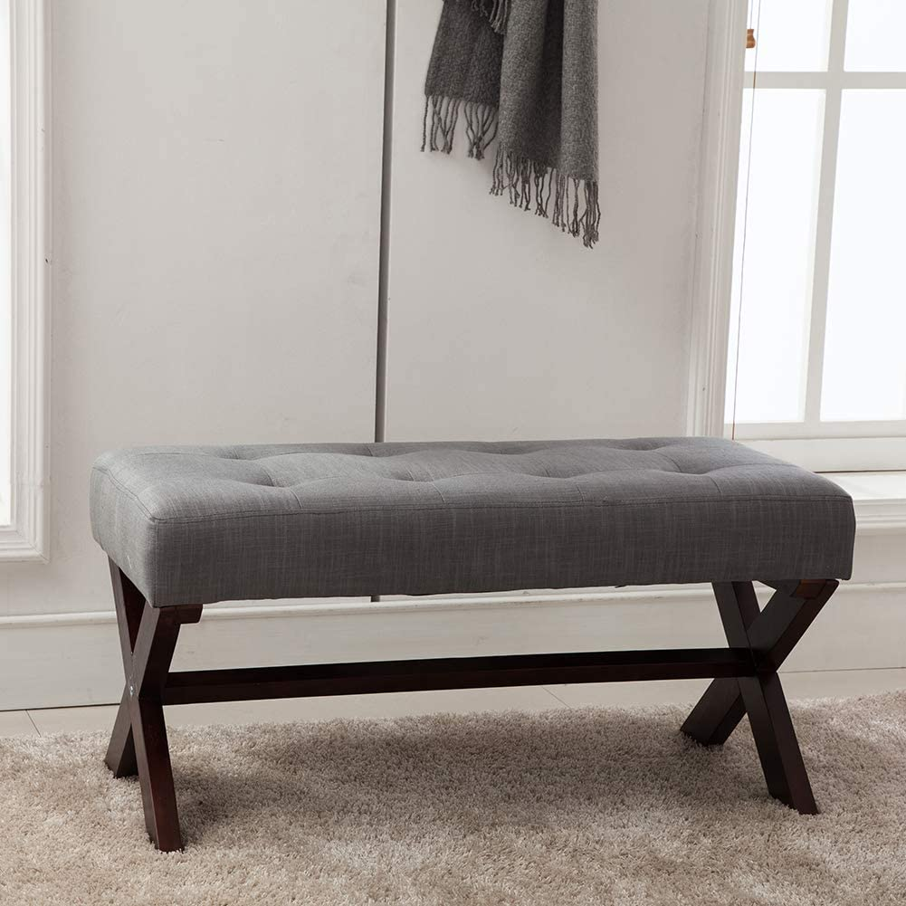 Amazon Com Upholstered Bedroom Benches Fabric Bed Side Ottoman With X Shaped Espresso Wood Legs For Patio Bedroom Living Room Dining Room Hallway Smoke Gray Kitchen Dining