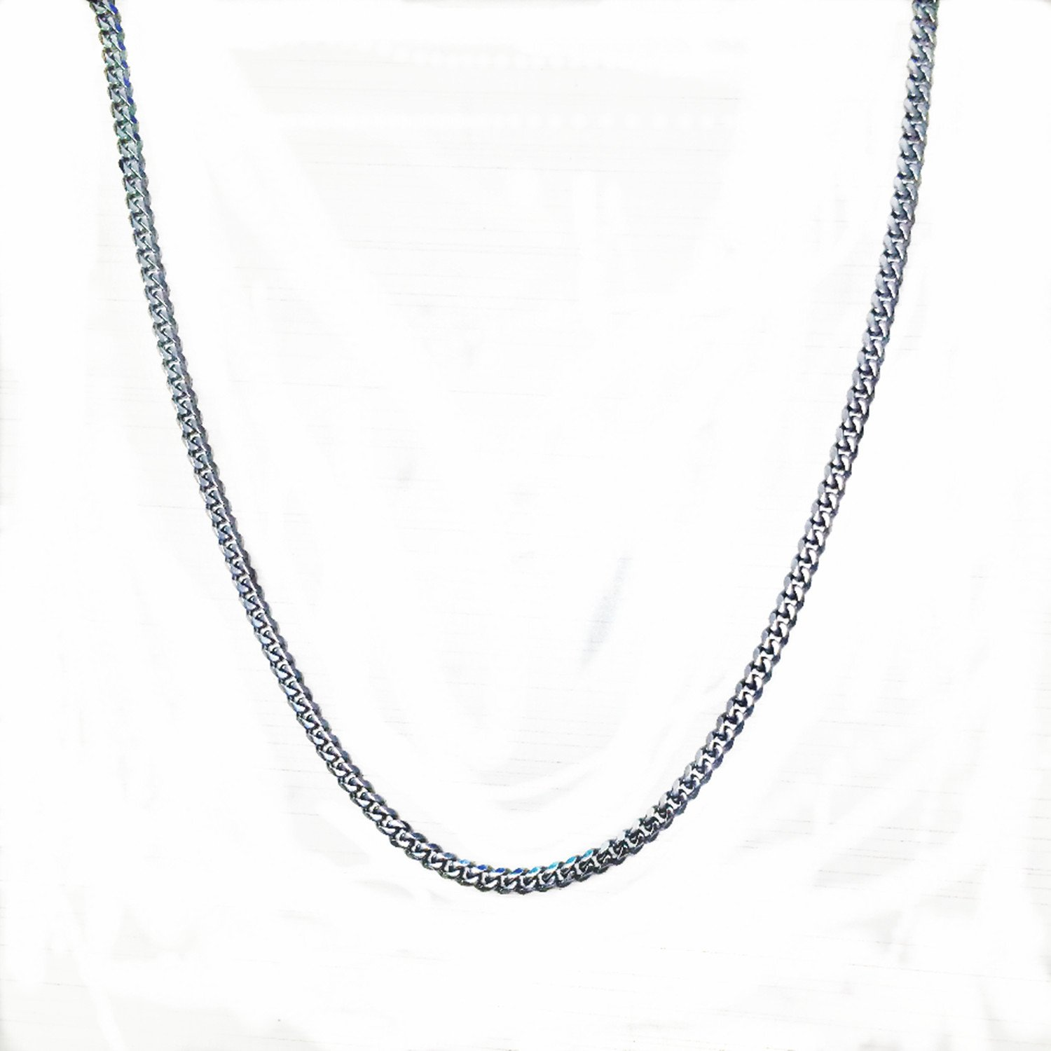 5mm Width;10-100m length;Women Men Curb Chain Silver Tone Stainless Steel Wholesale Necklace (100)