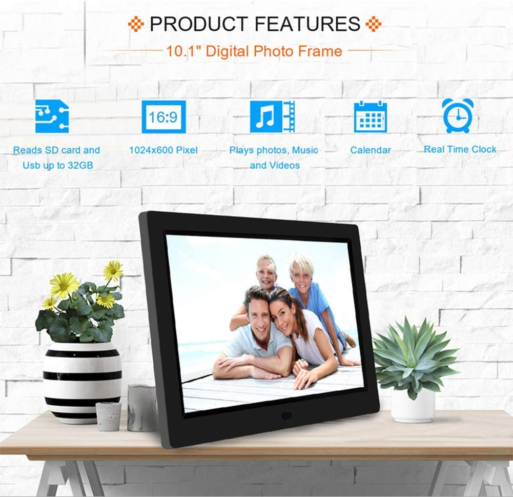 10.1 Inch Digital Photo Frame 1024/×600 Full HD 16:9 Photo//Music//Video Player Calendar Alarm Auto On//Off Timer Remote Control Support USB and SD Card