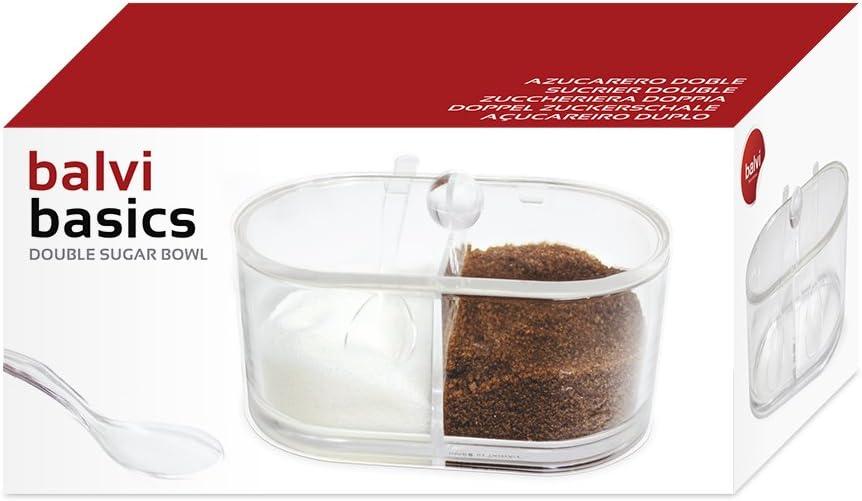 Balvi/sucrier Double/Basics/Couleur/Transparent/avec/Deux/Compartiments/Acrylique
