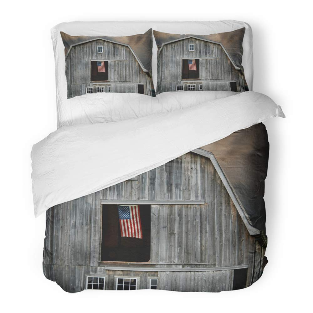 Emvency 3 Piece Duvet Cover Set Brushed Microfiber Fabric Rustic Flag Flying in Barn Window at Sunset Weathered Agriculture Country Dusk Breathable Bedding Set with 2 Pillow Covers Full/Queen Size