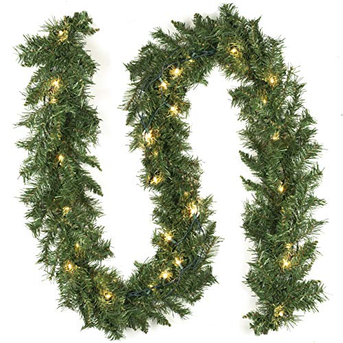 (9 Foot Artificial Garland Christmas Decorations with Pre-Strung Clear Lights Soft Green Holiday Decor or Wedding Party Decorations)