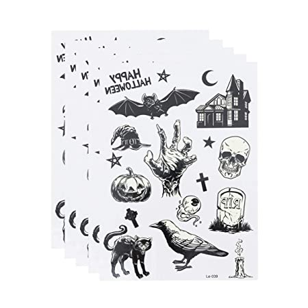 Holibanna 5 Hojas de Pegatinas de Tatuaje de Halloween Tatuaje ...