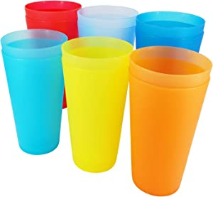 Unbreakable 32-ounce Plastic Tumblers BPA Free Dishwasher Safe Set of 12 in 6 Assorted Colors Drinking Glasses
