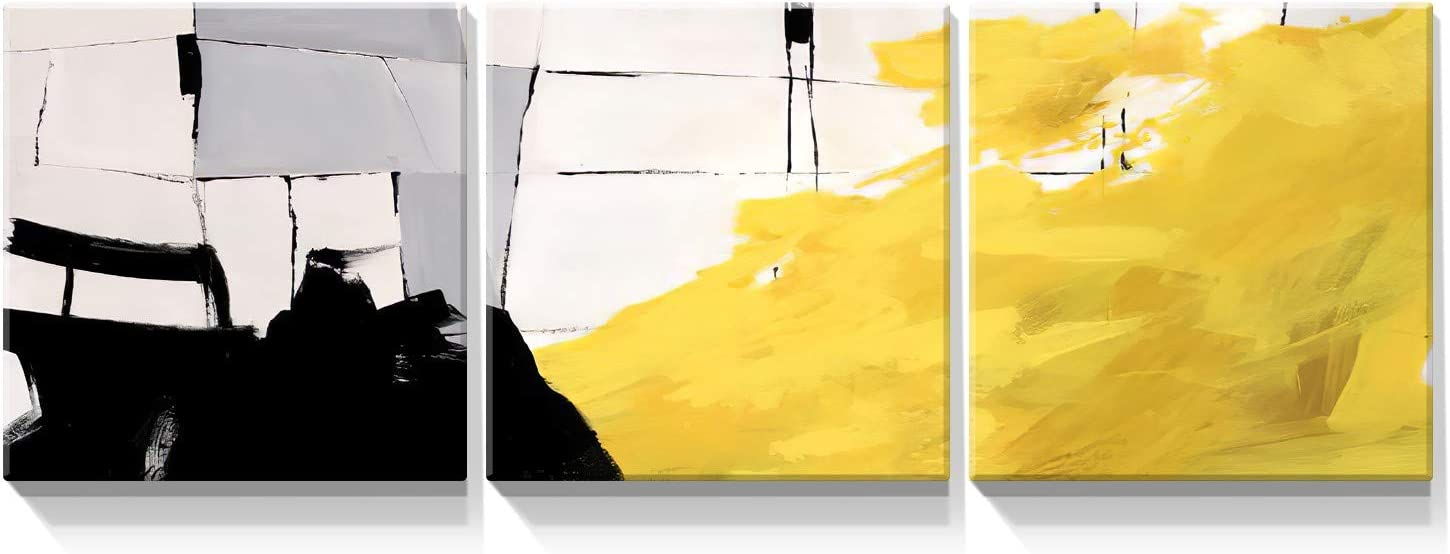 Looife 3 Panels Abstract Canvas Wall Art, 12x12 Inch 3 Pieces Yellow and Black Painting Picture Prints Artwork Wall Decor, Gallery Wrapped Colorful Home Deco Set