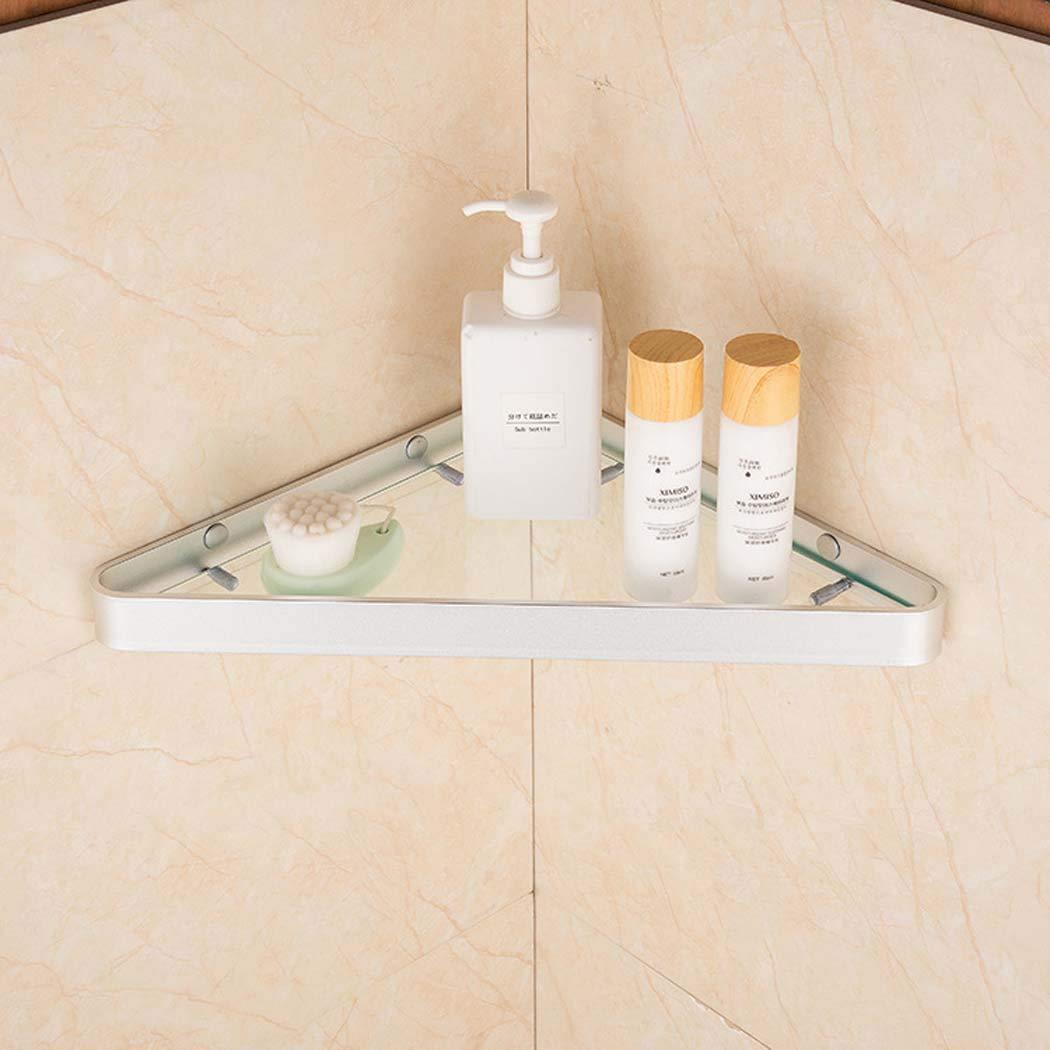 WSHZ Triangle Glass Shelf Bathroom Pendant Bathroom Triangle Shelf Bathroom Corner Frame Available in Three Colors,Silver