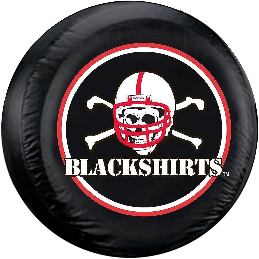 University of Nebraska Tire Cover with Cornhuskers Logo on Black Vinyl