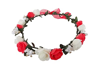 Buy vogue hair accessories red and white flower tiara flower crown vogue hair accessories red and white flower tiara flower crown head wrap hair accessories with red mightylinksfo