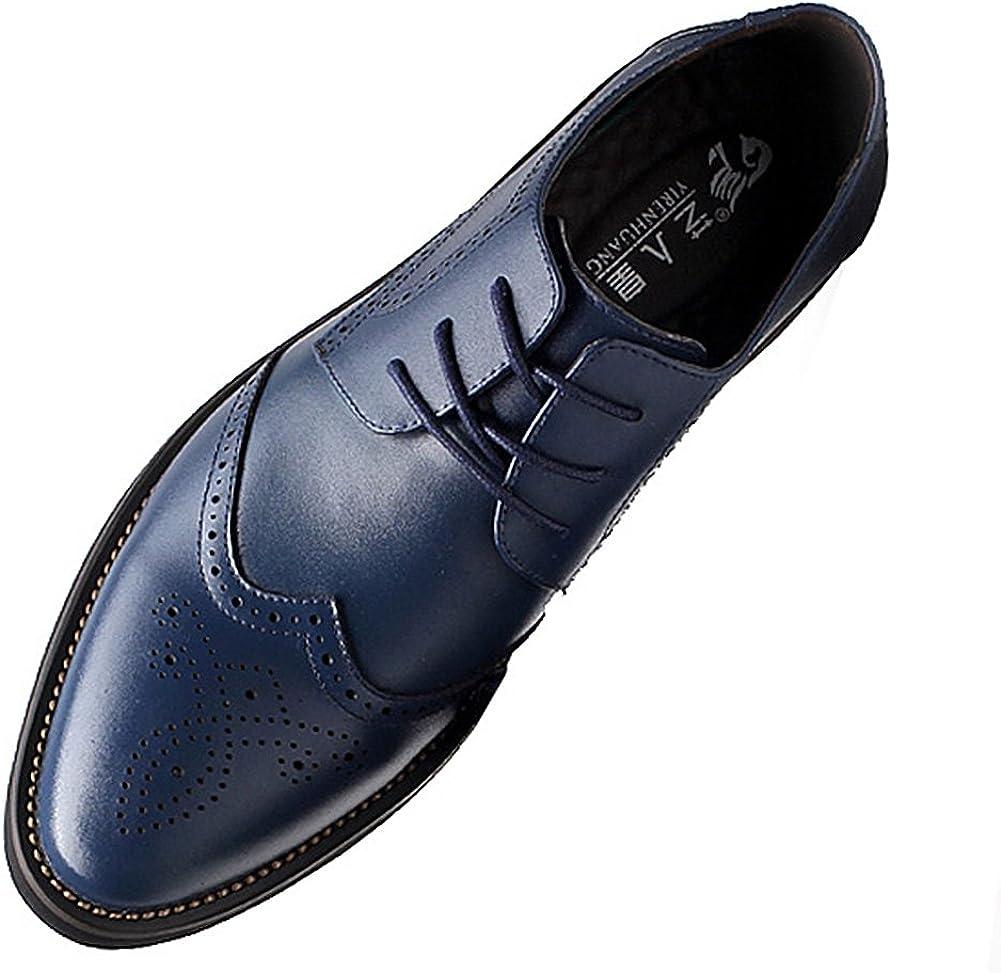 Yirenhuang Hombres Elegante Punta Puntiaguda Cuero Zapatos de Vestir Zapatos Brogue para Boda o de Negocios