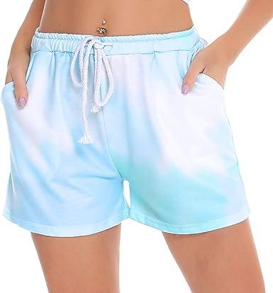 Hawiton Pantalones Cortos Pijama Mujer Algodon, elástica de Encaje ...