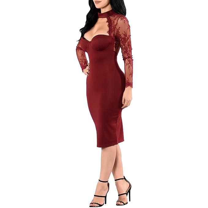 Synker Mujer Vestido de Fiesta Manga Larga Retro Encaje Vestidos de Coctel: Amazon.es: Ropa y accesorios