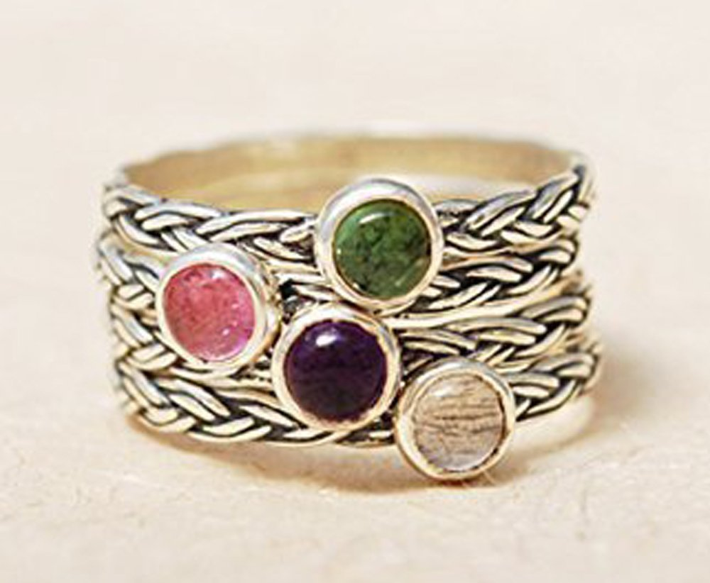 Handmade Braided Textured Sterling Silver 925 Personalized Birthstone Stackable Stacking Mothers Family Ring Anniversary Gift