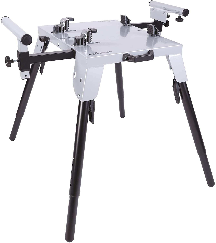 Evolution Power Tools Base de sierra tronzadora 005-0002 con sujeción universal, altura ajustable, brazos extensibles de 3 m y soportes hasta 225 kg