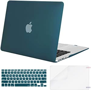 MOSISO Plastic Hard Shell Case & Keyboard Cover & Screen Protector Only Compatible with MacBook Air 13 inch (Models: A1369 & A1466, Older Version 2010-2017 Release), Deep Teal